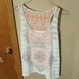 Striped & printed burn out tank